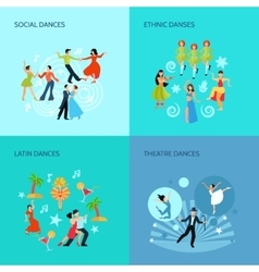 Dance styles Flat Concept vector image