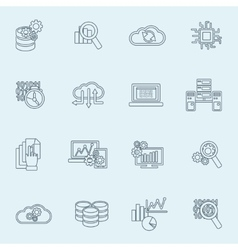 Database analytics icons outline vector image