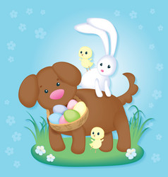 easter card with cute puppy chickens and rabbit vector image