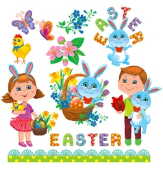 easter set design vector image