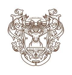 Family crest deer vintage vector