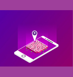 Flat isometric labyrinth in the phone vector