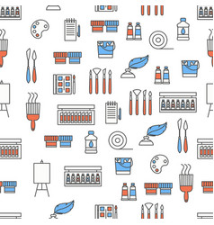 flat line art painting seamless pattern vector image