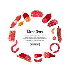 Flat meat and sausages icons isolated vector