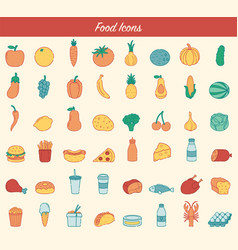 food and drink icons fruits vegetables fast vector image