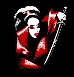 Girl with katana sword vector