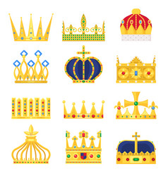 Gold crown king icon set nobility majestic vector