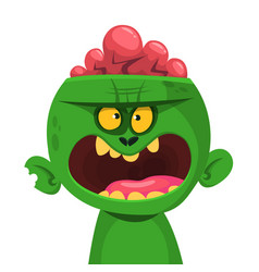 green zombie with pink brains outside vector image