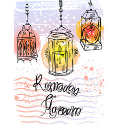 hand drawn ramadan kareem lettering and lamps vector image