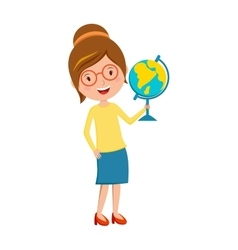 Happy primary school teacher with globe hand vector