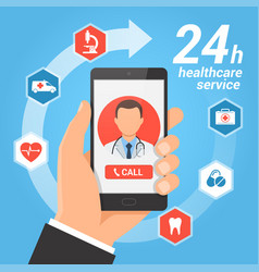 healthcare mobile service concept vector image