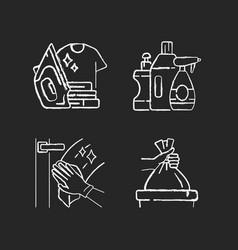 Housework chalk white icons set on black vector