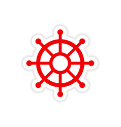 Icon sticker realistic design on paper ship wheel vector