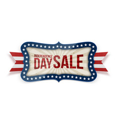 independence day sale banner with festive ribbon vector image