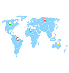 international business relations map with signs vector image