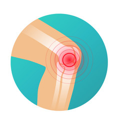 Joint pain knee pain icon with red circle pain vector