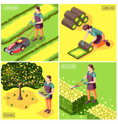 Landscaping isometric design concept vector
