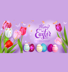 lilac easter background and tulips vector image