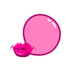 Lips blowing a bubblegum bubble vector