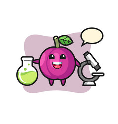 Mascot character plum fruit as a scientist vector