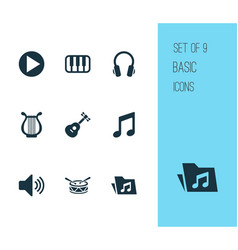 multimedia icons set collection of sound octave vector image