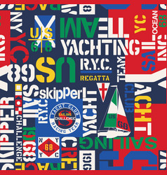 Nautical style yacht sailing elements wallpaper vector