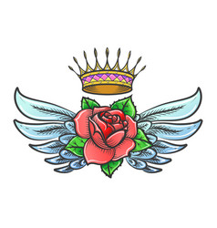 old school tattoo with winged rose flower and vector image
