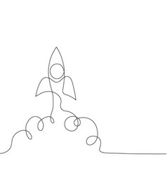 One line start up concept design rocket takes off vector