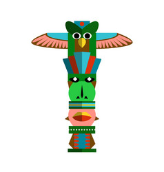 Pagan totem pole with eagle and idol face on white vector