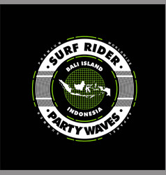 Party waves surf rider bali indonesia vintage vector