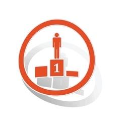 Pedestal sign sticker orange vector
