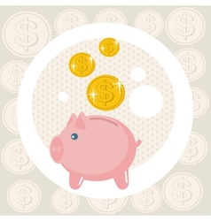 Piggy bank card vector