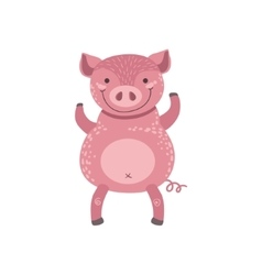 Pink Pig Standing On Two Legs vector image