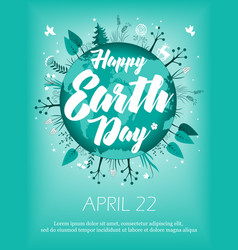 planet in green leaves wreath april 22 banner vector image
