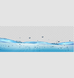 realistic transparent water waves with air vector image