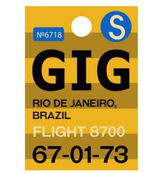 rio de janeiro airport luggage tag vector image