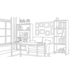 Room with bookshelves sofa vector
