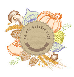 Round paper emblem over autumn food hand drawn vector