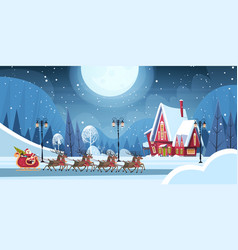 Santa riding in sledge with reindeers merry vector