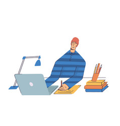 school kid with computer having video conference vector image
