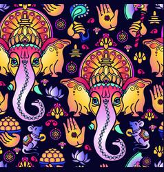 Seamless pattern hand drawn hindu god vector