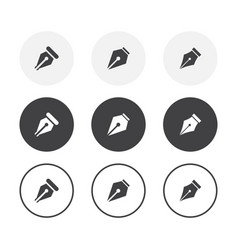 Set 3 simple design pen icons rounded vector