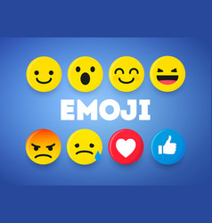set cute smiley emoticons emoji 3d design vector image