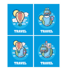 set of travel cards vector image