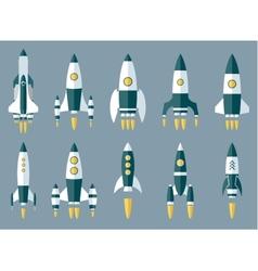 Set of Various Rocket Spaceship vector