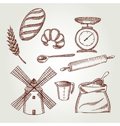 Set of vintage bakery icons Retro design vector image