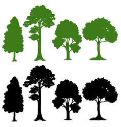 Set silhouette tree vector
