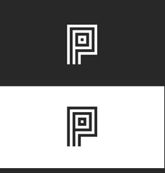 shape p letter logo monogram minimalist style vector image