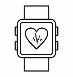 Smartwatch icon outline style vector image