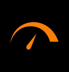 Speedometer sign orange icon on vector